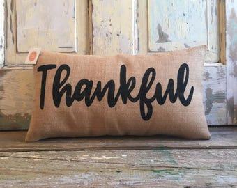 Pillow cover | Thankful pillow | Burlap pillow | Fall pillow | Fall Decor | Thanksgiving pillow | Thanksgiving decor | Entryway pillow
