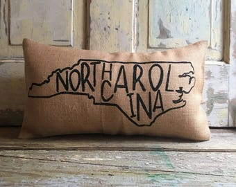Pillow Cover | State Pillow | City Pillow | North Carolina Pillow | Burlap pillow | Gift for Him | Gift for her | State Throw