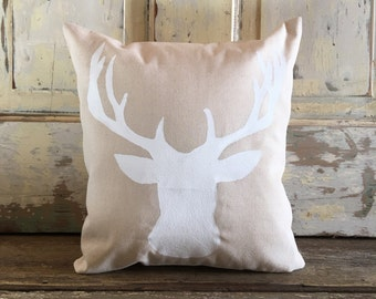 Deer pillow | Deer Bust | Woodland, Rustic decor | Cabin, Lodge, Lake House pillow | Antlers | Gift for Him | Father's Day|