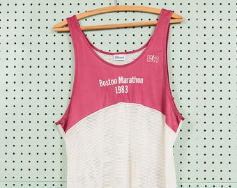 80s Vintage Boston Marathon Race Singlet T Shirt Size L 1983 Bill Rodgers Running