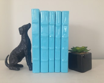 Set Of Decorative Turquoise Books Bookshelf Filler Library Stagging
