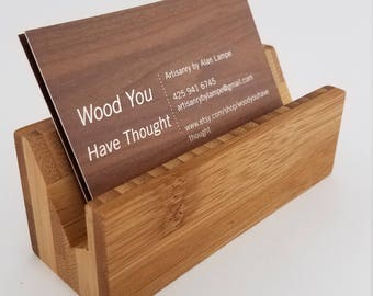 Bamboo card holder etsy bamboo desk business card holders reheart Choice Image