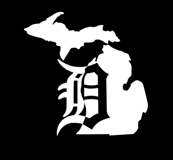 Detroit D Michigan Vinyl Car Window Decal Sticker Etsy