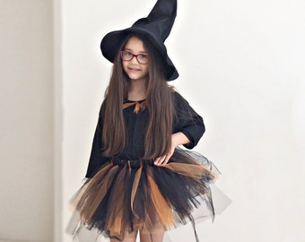 Black Rare Editions Girls Halloween Witch Hat Dress Outfit Leggings