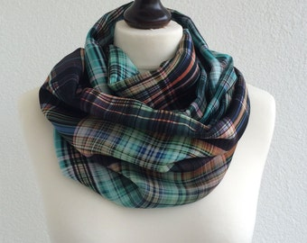 8076d1bc7760 Colorful Plaid Loop Scarf, Tartan Circle Scarf, Checkered Satin Foulard,  Printed Infinity Scarf, Geometrical Men Wrap, Unisex Neck Accessory