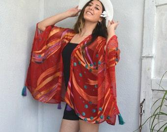 001897e833 Boho African Kimono, Sheer Cardigan Top, African Clothing, Women Swimwear,  Oversize Summer Jacket, Beach CoverUp, Women Clothing Gift