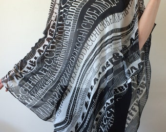 806de59061 Silk Swimwear Coverup, Wrap Scarf Pareo, Beach Cover Up, Letters Book Scarf,  Boho Chiffon Shawl, Printed Black White Sarong, Christmas Gift