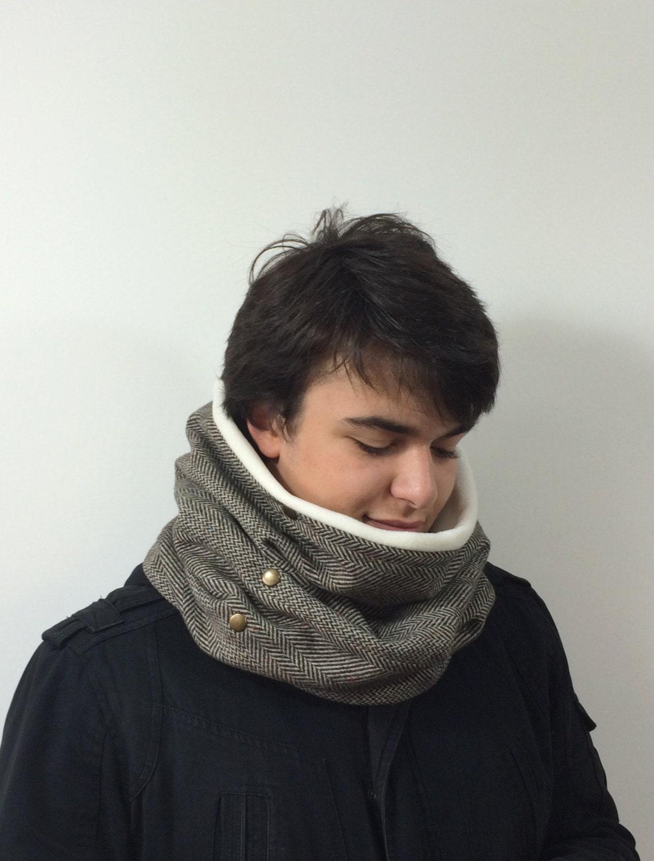 col en grosse laine echarpe oversize homme herringbone cowl etsy. Black Bedroom Furniture Sets. Home Design Ideas