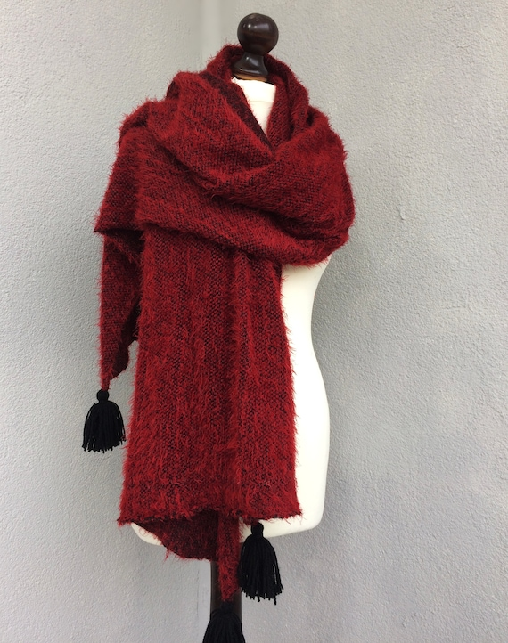 Fluffy Blanket Scarf Unique Gifts For Women Burgundy Large  bfc06dd178