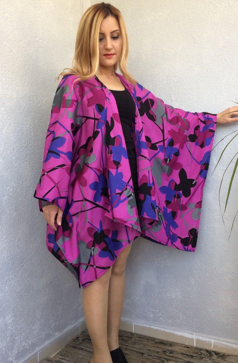 74c555a16c Floral Beach Kimono Boho Kimono Floral Kaftan Oversize | Etsy