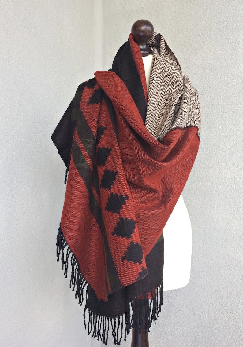c6a731d8e60fc Blanket Wool Scarf Aztec Winter Shawl Oversize Tribal Stole | Etsy
