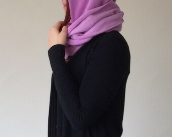 Lilac Hooded Scarf, Pompom Hoodie Scarf, Winter Chunky Cowl, Fleece Scoodie Scarf, Infinity Scarf, Lavender Neckwarmer, Violet Hooded Scarf