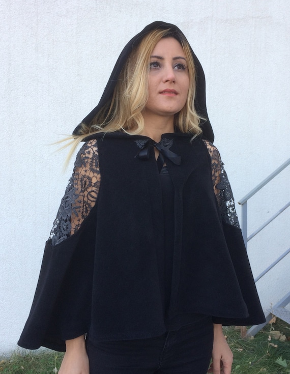 Cape Cover Cape Top Shoulder Cloak Evening Capelet Steampunk Cape the Hooded Bolero Hooded Lace Bridal Clothing Black Off Up Wedding BFwqBd