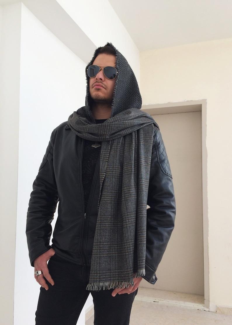 feb2981900 Men Hooded Plaid Scarf Blanket Tartan Cowl Wrap Hood