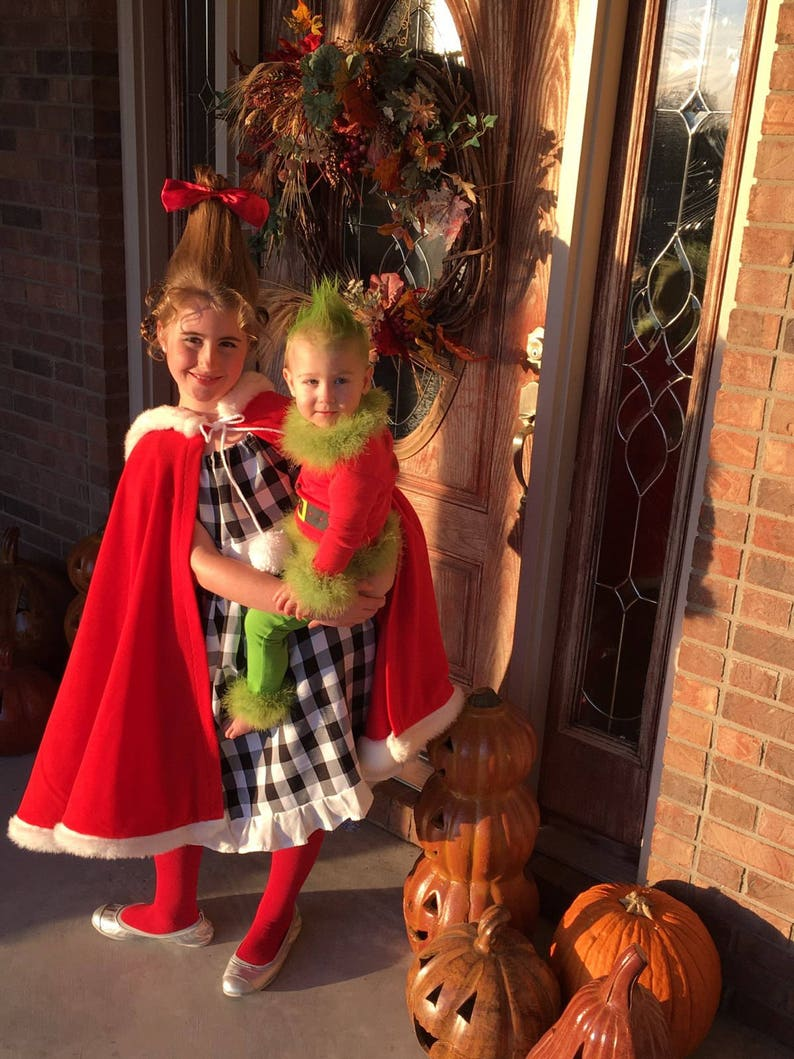 4c45e28f1ea2 Cindy Lou Who Costume The Grinch Red Riding Hooded Cape | Etsy