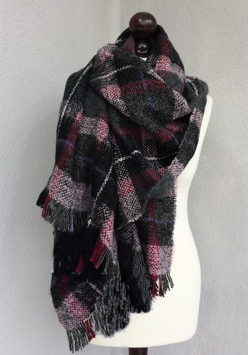 UK Women Oversize Plaid Tassel Blanket Winter Scarf Wrap Shawl Warm Quality Gift