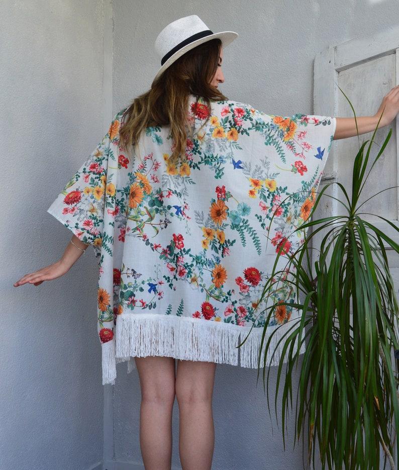 9dbccbcd4753 Floral Kimono Jacket Flapper Kimono Cardigan Boho Beach | Etsy