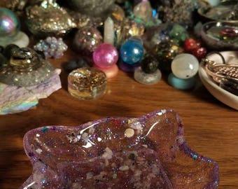 Handmade fox bowl trinket dish rainbow moonstone and lepidolite