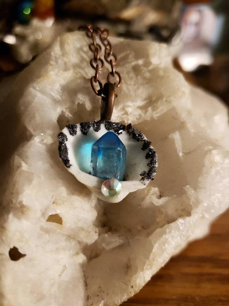 Galena and aqua aura shell necklace