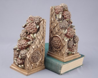Bookends, Floral Bookend Resin Red Pink Gold Heavy Shabby Chic Southern Living Hollywood Regency Gilt Hydrangea English Rose Bookends