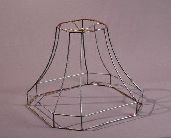 Lamp shade wire frame octagonal hexagonal lamp shade diy light etsy image 0 greentooth Image collections
