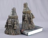 Bookend Tassel Heavy Resin Vintage Antique Gold Tassel Bookends Doorstops Bookshelf Designer Home Decor