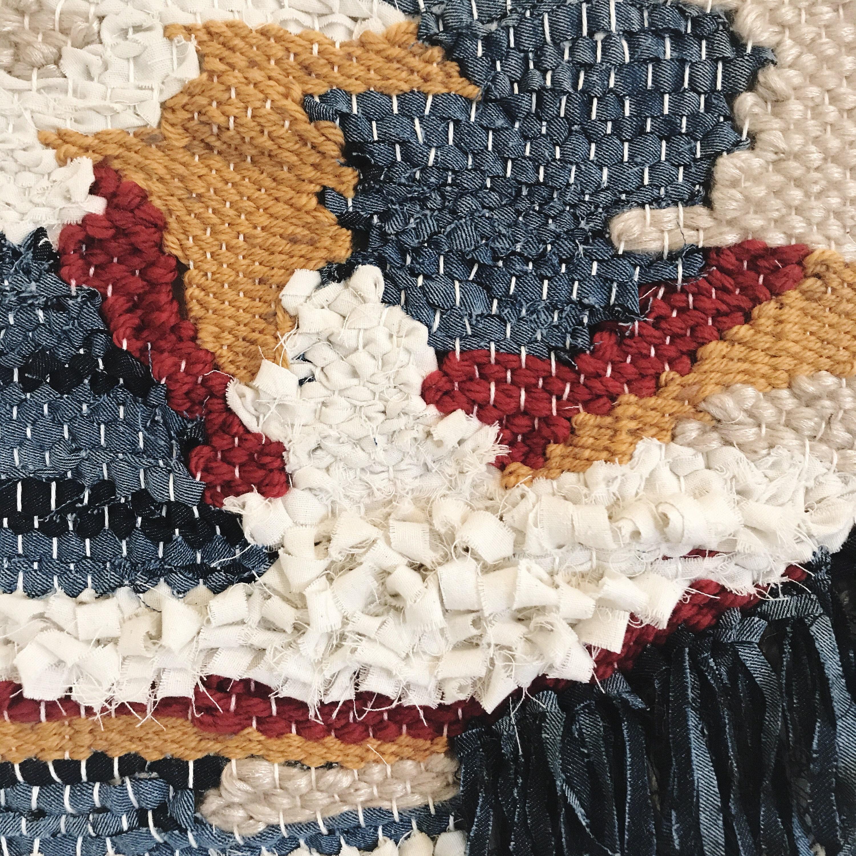 Handmade Woven Wall Hanging // Abstract - Calico - Mustard