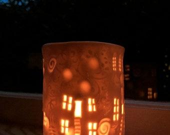iLuminaries porcelain hand made imprinted candle or tea light holder