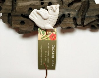 Owl Porcelain Shawl or Sweater Pin, handmade clay knitting accessory