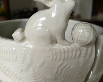Rabbit Porcelain Yarn Bowl wide base, indented rim, 3 yarn feeds. Strong and Lovable