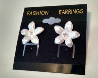 White Ice Flower Earring