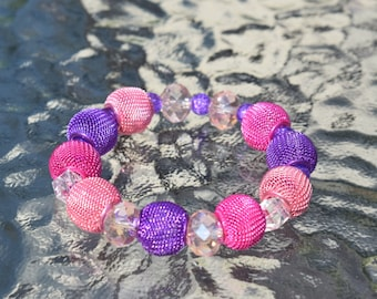 Pink And Purple Beaded Stretch Bracelet