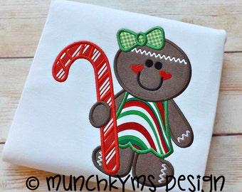 Gingerbread Girl Candy Cane Applique