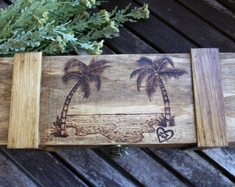 Custom Wine Box, Wedding Wine Box, Beach Theme Wooden Box, Rustic, Personalized, Time Capsule, Anniversary Gift, Wine Ceremony, Palm Trees