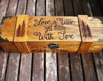 Custom Wine Box, Wedding Wine Box, Hand Burned Wooden Wine Box, Custom, Christmas Gift, Time Capsule, Anniversary Gift, Wine Ceremony, Trees