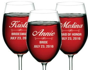 Custom Wine Glasses, Personalized Wine Glasses, Bridesmaid Gift, Bridesmaid Wine Glasses, Etched Wine Glasses, Engraved Wine Glass
