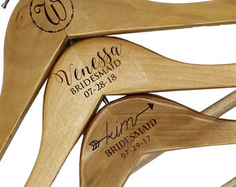 Custom Bridesmaid Hangers, Wedding Dress Hangers Personalized, Bridal Shower Gift, Personalized Hangers For Bridal Party, Wood Hangers