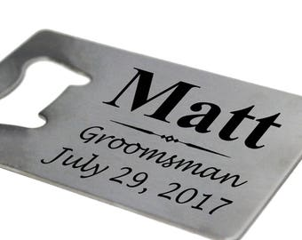 Credit Card Bottle Opener, Groomsmen Man Card, Beer Opener Personalized, Wallet Opener, Credit Card Opener