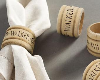 Monogrammed Wooden Napkin Ring Holder, Personalized Wood Napkin Ring, Engraved Napkin Holder, Rustic Wedding Favors, Wood Wedding Favors
