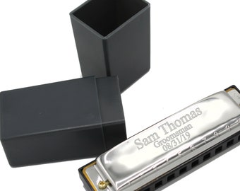 Personalized Stainless Steel Harmonica - Groomsmen Gift - Fathers Day Gift - Ringbearer Gift - Engraved - Customized - Monogrammed for Free