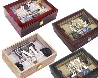Personalized Watch Storage  Box  - Groomsmen Gifts - Birthday Gift - Wedding Party Gift - Engraved, Customized, Monogrammed for Free