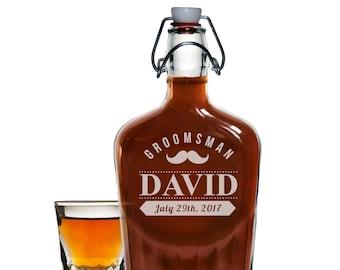 Engraved Glass Flask, Personalized Flask, Groomsmen Gifts, Groomsmen Flasks, Swing Top Flask, Wedding Party Flasks, Flasks for Men Hip Flask