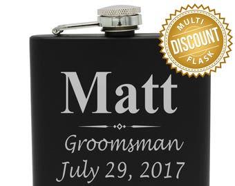 Engraved Flask, Wedding Flask, Groomsmen Flask, Groomsmen Gift, Personalized Flask, Custom Flask, Monogram Flask, Flasks for Men