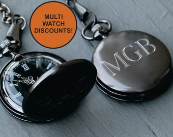 5c9e9e5bc Custom Pocket Watch - Groomsmen Gift - Personalized Pocket Watch - Engraved Pocket  Watch - Best Man Gift - Mens Pocket Watch - Gunmetal
