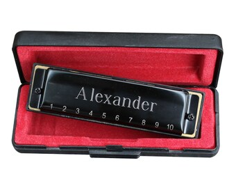 Personalized Black Harmonica - Groomsmen Gift - Best Man - Fathers Day - Ringbearer Gift - Engraved - Customized - Monogrammed for Free