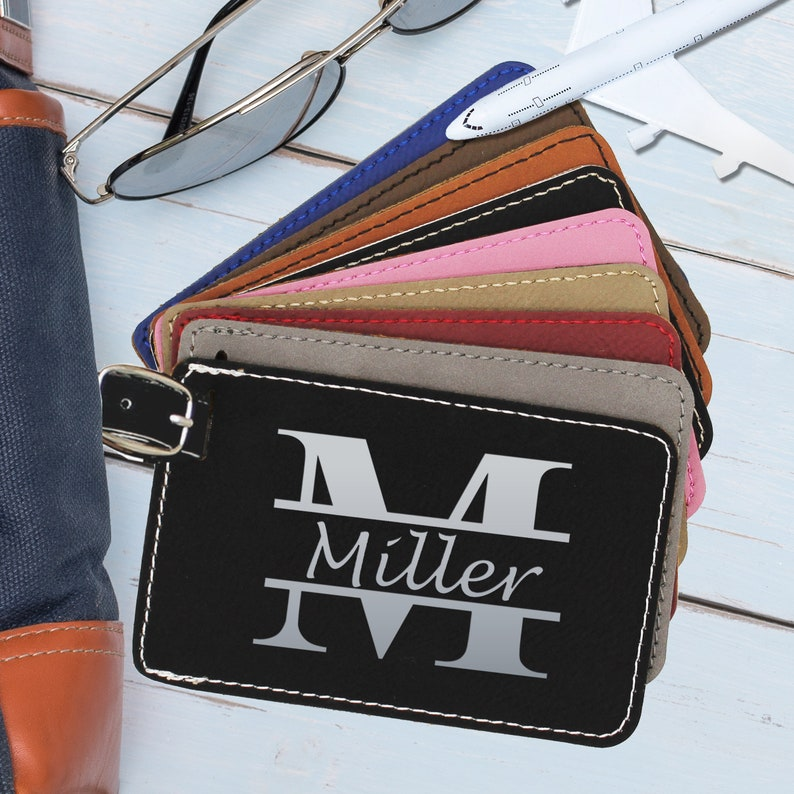 Personalized Luggage Tag Leather Engraved Luggage Tag image 0