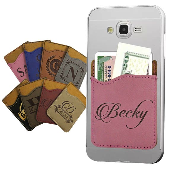 Engraved Personalized Leather Phone Wallet with cardID slot includes adhesive back