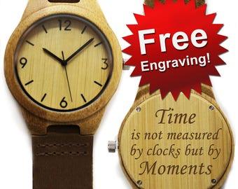 Personalized Wood Watch, Wooden Watches for Men, Watch Wood, Boyfriend Gift, Wood Watch Men, Engraved Wood Watch, Gift for Him, Watch Gift