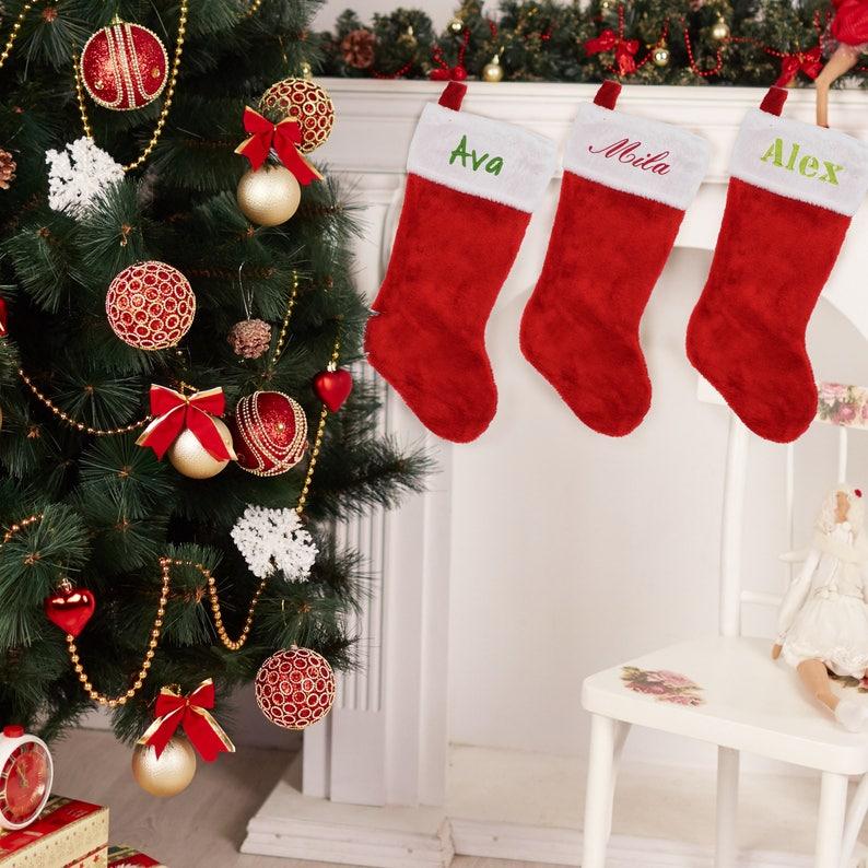 Classic Christmas Stocking Custom Christmas Stockings Monogram Christmas Stocking Personalized Christmas Stockings Red