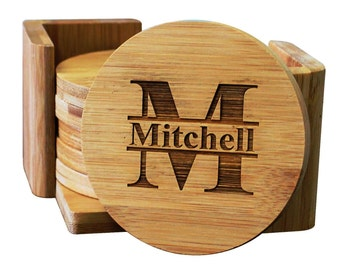 Set of 6 Personalized Coasters, Personalized Wedding Gift, Bamboo Coasters, Wood Coasters, Wedding Gifts for Couple, Drink Coasters